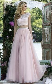 Sherri Hill 50038 Two Piece Set Beaded Blush 2016 Prom Dress Affordable