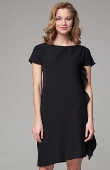 Nommo NA101 sukienka czarna Efektowna sukienka, luźny fason, sukienka z krótkim rękawem
