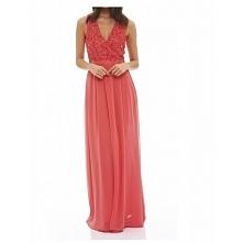 Koralowa długa sukienka z szyfonu z koronkowym topem i dekoltem V