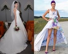 Ekstrawagancka sukienka z sukni ślubnej Drugie życie sukni ślubnej