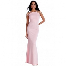 Długa sukienka na wesele multi ramiączka pastelowy róż