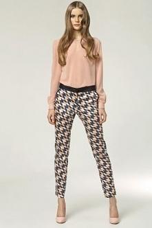 Eleganckie, damskie spodnie w oryginalnym, geometrycznym wzorze w odcieniach:...