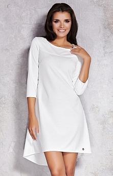 Infinite You M024 sukienka ecru Piękna sukienka, wykonana z ciekawego wytłaczanego materiału, rękaw 3/4