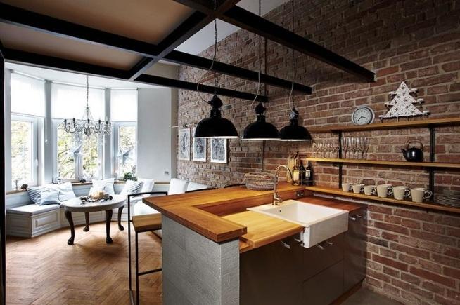 Kuchnia a 39 la loft po czona z eleganckim salonem na for Kuchnia polaczona z salonem
