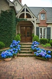 Klasyczny amerykański dom i niesamowite dojście do domu schodami wzdłuż który...
