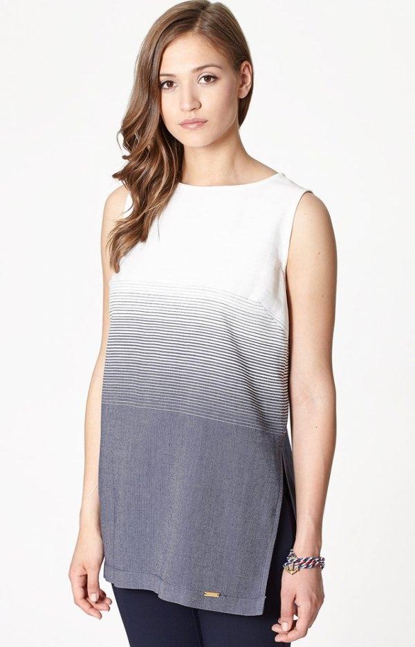 Click Fashion Korynt bluzka Stylowa bluzka,  prosty i luźny fason, utrzymana w odcieniach bieli i granatu