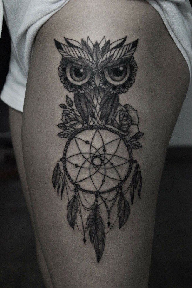 Sowa łapacz Snów Owl Dream Catcher Tattoo Na Tattoos