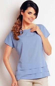 Awama A143 bluzka niebieska Modna bluzka, wykonana z delikatnego i zwiewnego materiału, krótki rękaw
