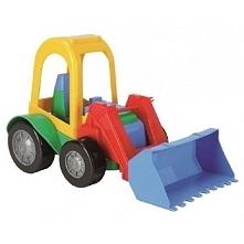 Kolejna zabawka nadająca się i do domu i do zabawy na pisaku:)  Wader 54260 - Traktorek Koparka - Friends on the Move - Zabawka dla dzieci od 1 roku imituje prawdziwy pojazd bud...