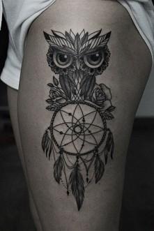 sowa łapacz snów owl dream catcher tattoo