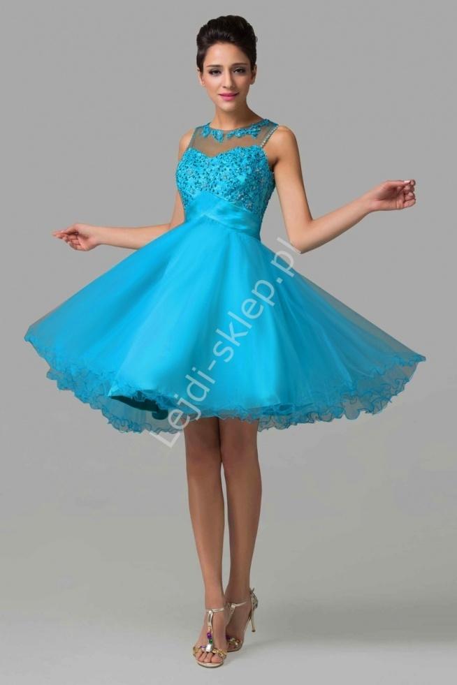 Tiulowa sukienka z koralikami i cekinami, mocno niebieska