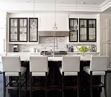 Biało-czarna kuchnia, kuchnia w bieli i czerni ;] biała kuchnia z wyspą kuche...