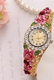 Zegarek damski z różowymi cyrkoniami i kwiatami 3D biżuteryjny zegarek damski