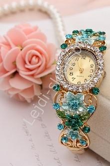 Zegarek damski z cyrkoniami i kwiatami 3D| biżuteryjny zegarek damski