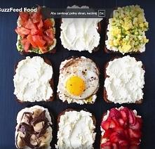 kanapeczki  1. tost z twarożkiem ,pesto,pomidorami pieprzem i solą 2.tost z twarożkiem kukurydzą i szczypiorkiem 3.tost z twarożkiem i bananem i notellą 4. tost z twarożkiem i t...