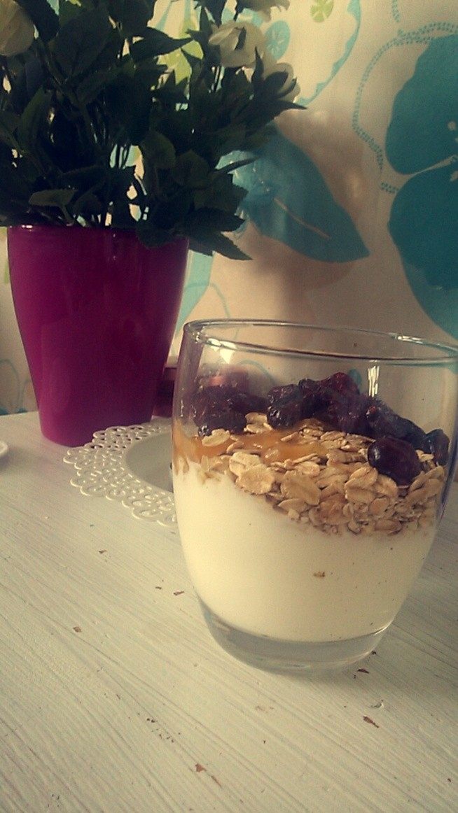 podwieczorek: jogurt naturalny, otreby,platki owsiane, lyzka miodu, zurawina z sokiem z granatu :)!