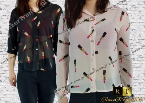 Włoska koszula mgiełka szminki lipstick <3