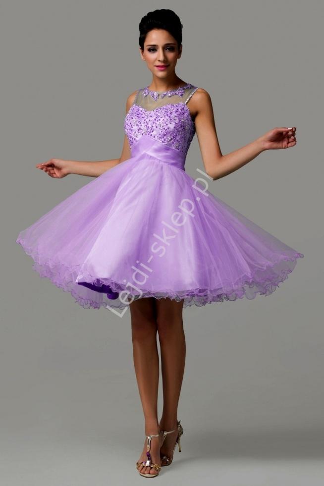 Tiulowa wrzosowa sukienka z koralikami i cekinami   wrzosowe, fioletowe sukienki