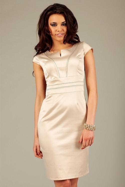 Wieczorowa satynowa elegancka sukienka bez rękawów beżowa
