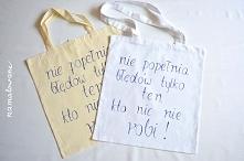 Ręcznie malowane torby z napisem, wykonane na zamówienie. Obie powędrowały do jednej osoby :)
