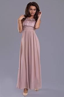 Piękna suknia wieczorowa. Dekolt wykończony koronką, długość maxi, wysokogatunkowa tkanina, koronka z przodu, interesujące połączenie tkanin i wzorów, zaznaczona talia, modny, o...