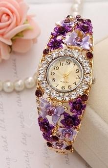 Biżuteryjny zegarek z motylkami i różami 3D |fioletowe zegarki, zegarek bransoletka