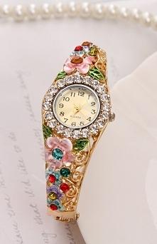Zegarek z kolorowymi kwiatami | zegarek z cyrkoniami