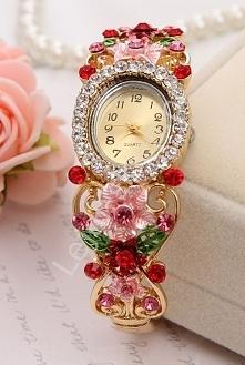 Zegarek damski z różowymi i czerwonymi cyrkoniami i kwiatami 3D| biżuteryjne ...