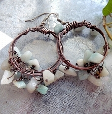 Miedziane kolczyki z amazonitem. Acoya Jewellery.