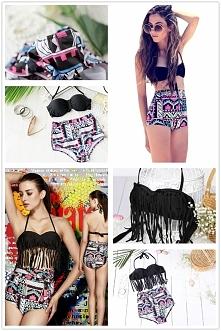 bikini strój kąpielowy strój na plaże frędzle boho hippie
