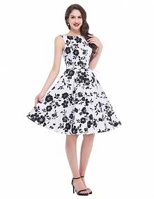 Czarno biała sukienka w kwiaty , swingdress | Sukienka w czarne kwiaty vintage