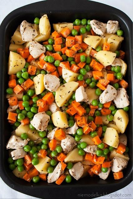 Pierś z kurczaka pieczona z warzywami Składniki: 400 g piersi z kurczaka 2 średnie marchewki 200 g mrożonego zielonego groszku 8 średnich ziemniaków 2 łyżki oliwy sól, pieprz 2 ząbki czosnku ostra czerwona papryka w proszku tymianek Sposób przygotowania: 1.Pierś z kurczaka umyć, pokroić w kostkę i podsmażyć przez 5 minut na rozgrzanej patelni z 1 łyżką oliwy. 2.Marchewkę i ziemniaki obrać i pokroić w kostkę (ziemniaki w dużą, marchewkę w drobną). 3.W misce połaczyć wszystkie składniki, dodać 1 łyżkę oliwy, przeciśnięty czosnek i pozostałe przyprawy. Wszystko dokładnie wymieszać. 4.Przełożyć do naczynia żaroodpornego, wstawić do piekarnika nagrzanego do 200 °C i piec około godziny.