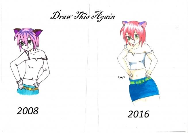 Draw this again   Jest progres? Próbowałam pokolorować nie wiem czemu po zeskanowaniu mi tak się rozjaśnił ten rysunek. Twarzy dużo nie zmieniałam, bo w sumie mi się podobała.