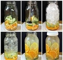 pomarańcze, limonki, cytryny. Ja na słoik 5 litrowy biorę: - 5 pomarańczy - 2 limonki - 1 cytrynę kroję w pólplastry układam na spodzie do 3/4 wysokości uzupełniam kostkami lodu...