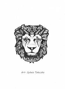 projekt tatuażu, rysowany ołówkiem, na podstawie lwa z piosenki zespołu Lemon