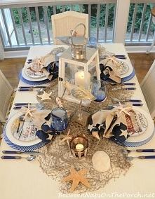 dekoracja stołu w stylu Hampton, dekoracyjne talerze