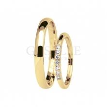 Niezwykły komplet obrączek ślubnych Eternity z żółtego złota z siedmioma brylantami  - kolekcja GESELLE Jubiler