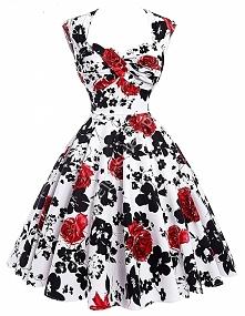Sukienka pin-up , swingdress |sukienka retro czerwone róże | sukienka wycięte plecy