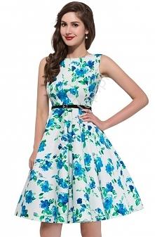 Sukienka w niebieskie kwiaty | sukienki w stylu pin-up, retro sukienki