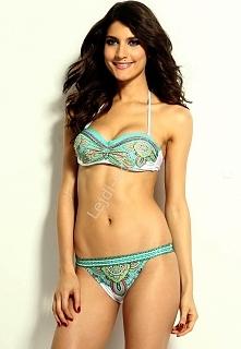 Turkusowe bikini w stylu etno | stroje kąpielowe