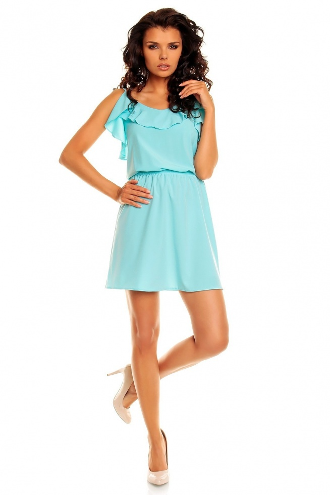 Zwiewna sukienka w kolorze niebieskim na wąskich ramiączkach. Sukienka ma lekko rozkloszowany krój, góra ozdobiona falbanką. W talii wszyta gumka ułatwiająca zakładanie. Sukienka idealna na wiele okazji. Rozmiar L.  Sklep Allettante.pl Moda damska, Sukienki