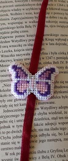 Motyl - zakładka do książki - haft krzyżykowy