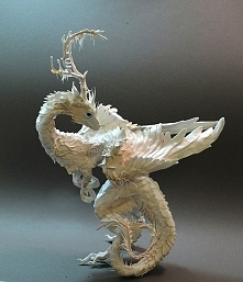 White Moss and Mushroom Dragon by creaturesfromel on Etsy, $275.00