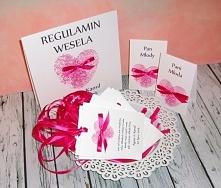 Dodatki weselne z kolekcji LOVE PRINT RIBBON :) biel i fuksja  Masz pytania? Pisz! :) kraina_czarow@interia.pl