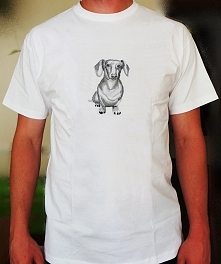 Koszulka z haftem jamnika