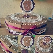 Tort z papieru na 18 urodziny (12 kawałków - pudełek z niespodziankami)