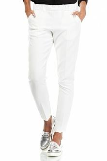 Eleganckie spodnie Damskie Ecru na kant, w pasie guma, po bokach kieszenie.  Producent Bewear Promocja rozmiaru XL -84zł. w Sklepie Allettante.pl