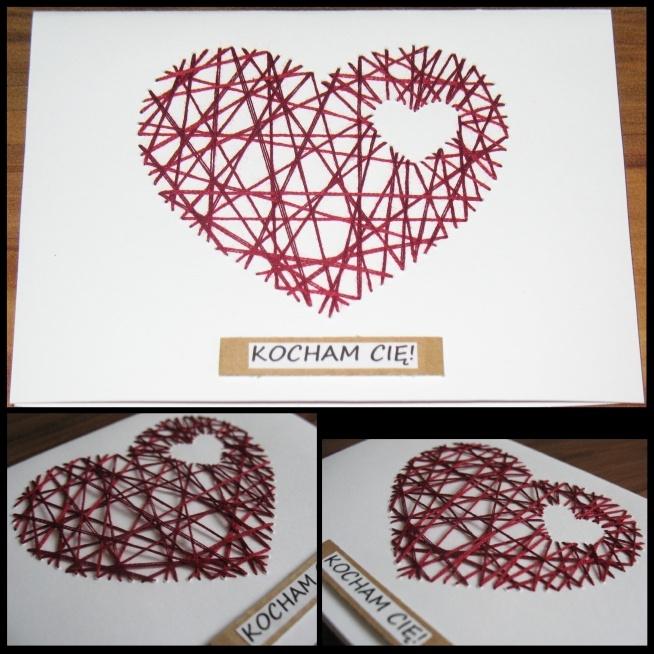 Coś dla ukochanego bądź ukochanej. Wyszywane serce w sercu, kartka formatu A6