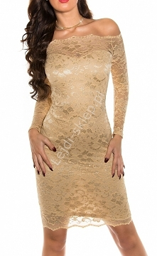 Koronkowa karmelowa sukienka