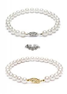 Okrągłe perły słonowodna Akoya w postaci bransolety (19,5cm). Średnica pereł: 6,5mm.
